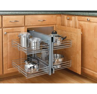 Blind corner cabinet pull out shelves organizers at for Blind corner systems for kitchen cabinets