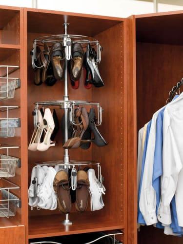 Rev-A-Shelf CLSZ-W3-55-1 Chrome Shoe Racks 3 Shelf Women s Lazy Shoe-Zen Organizer with Closet Shaft
