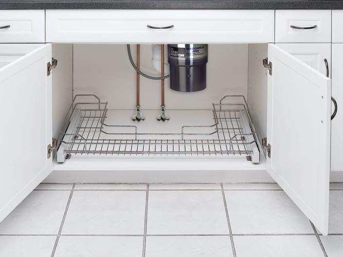 kv real solutions 14 wide under sink pull out basket frosted nickel. Black Bedroom Furniture Sets. Home Design Ideas