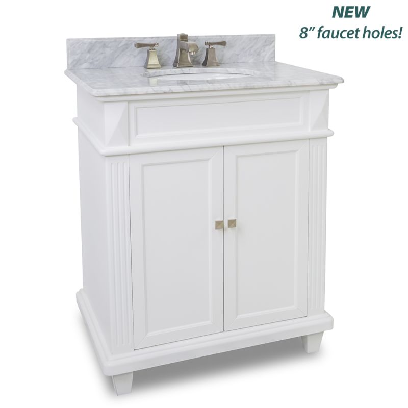 Elements van094 30 t mw painted white white marble for Bathroom vanities uk