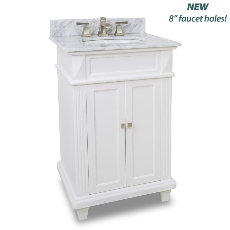 Elements Van094 T Mw Painted White White Marble Douglas Collection 24 Inch Bathroom Vanity