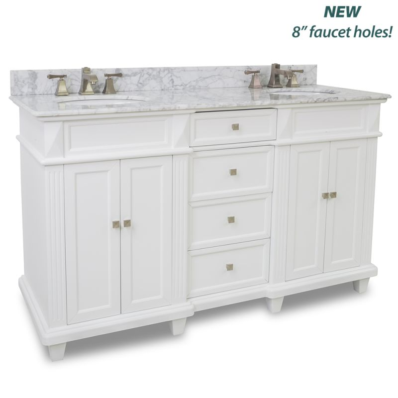 Elements Van094d 60 T Mw Painted White White Marble Douglas Collection 60 Inch Double