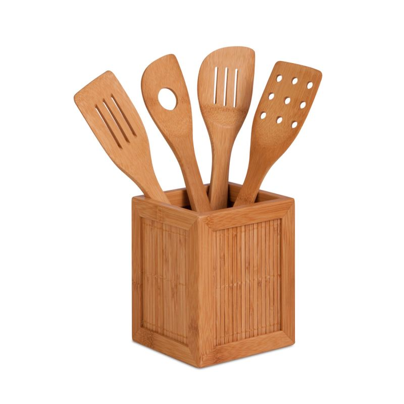 Composition Of 4 Kitchen Utensils : ... KCH-01080 Bamboo Bamboo Utensils And Kitchen Caddy - PullsDirect.com