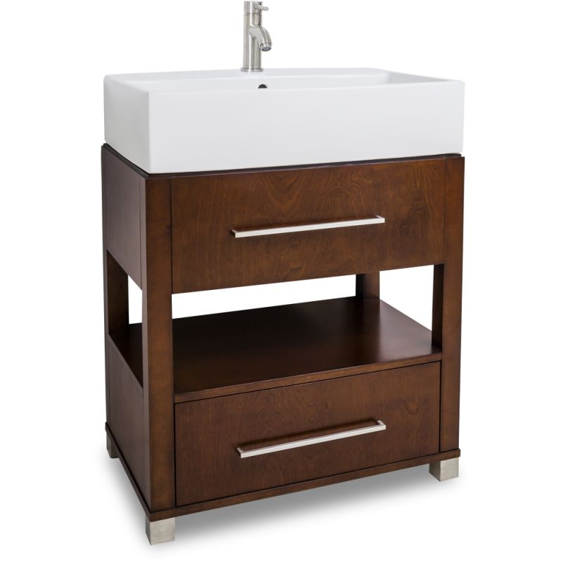 Jeffrey Alexander Van095 T Chocolate Wells Collection 28 Inch Wide Bathroom Vanity Cabinet With