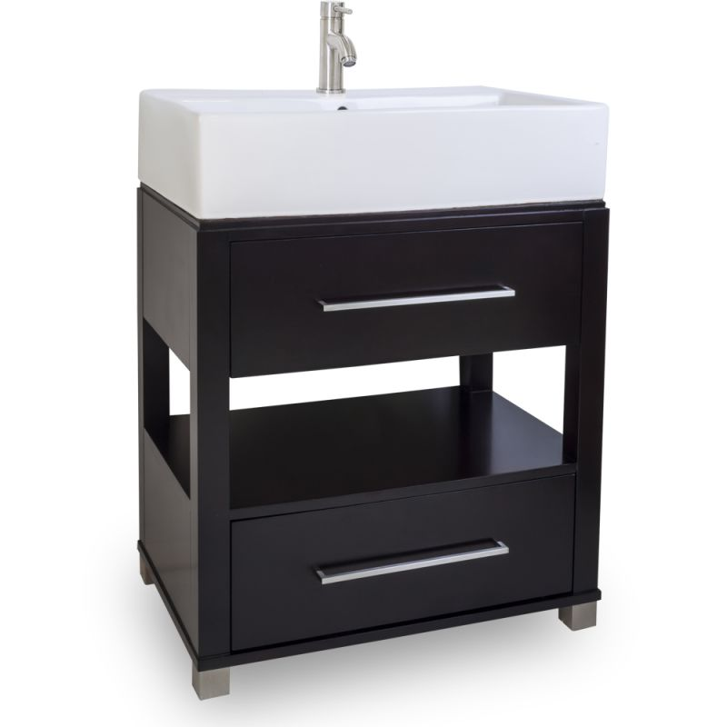 Jeffrey Alexander Van096 T Espresso Wells Collection 28 Inch Wide Bathroom Vanity Cabinet With