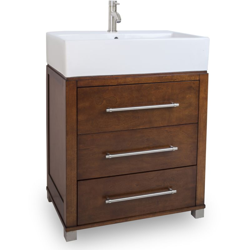 28 inch wide bathroom vanity cabinet with counter top and sink faucet