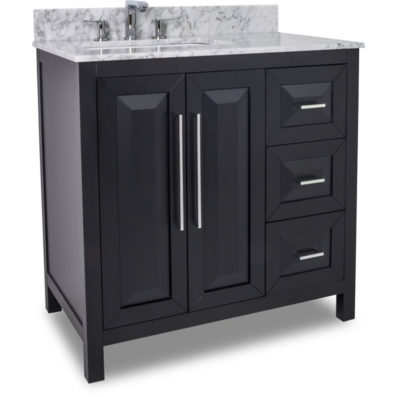 Jeffrey alexander van101 36 t black cade contempo for Bathroom cabinets 25cm wide