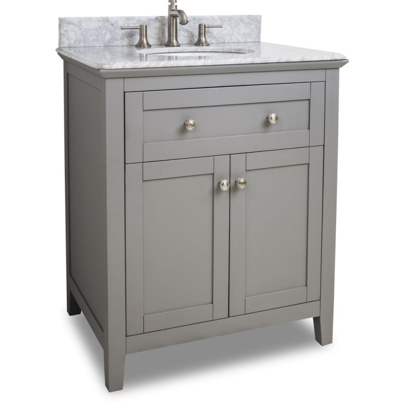 Jeffrey Alexander Van102 30 T Grey Chatham Shaker Collection 30 Inch Wide Bathroom Vanity