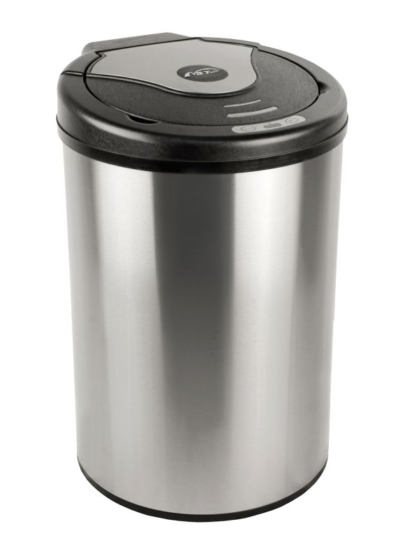 Nine Stars DZT-42-17 Stainless Steel Motion Sensing Nine Stars DZT-42-17 11.1 Gallon Triangle Shaped Trash Can with Infrared Motion