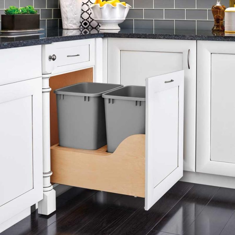 rev a shelf 4wcsc 2150dm 2 wood trash cans 2 bin pull out. Black Bedroom Furniture Sets. Home Design Ideas