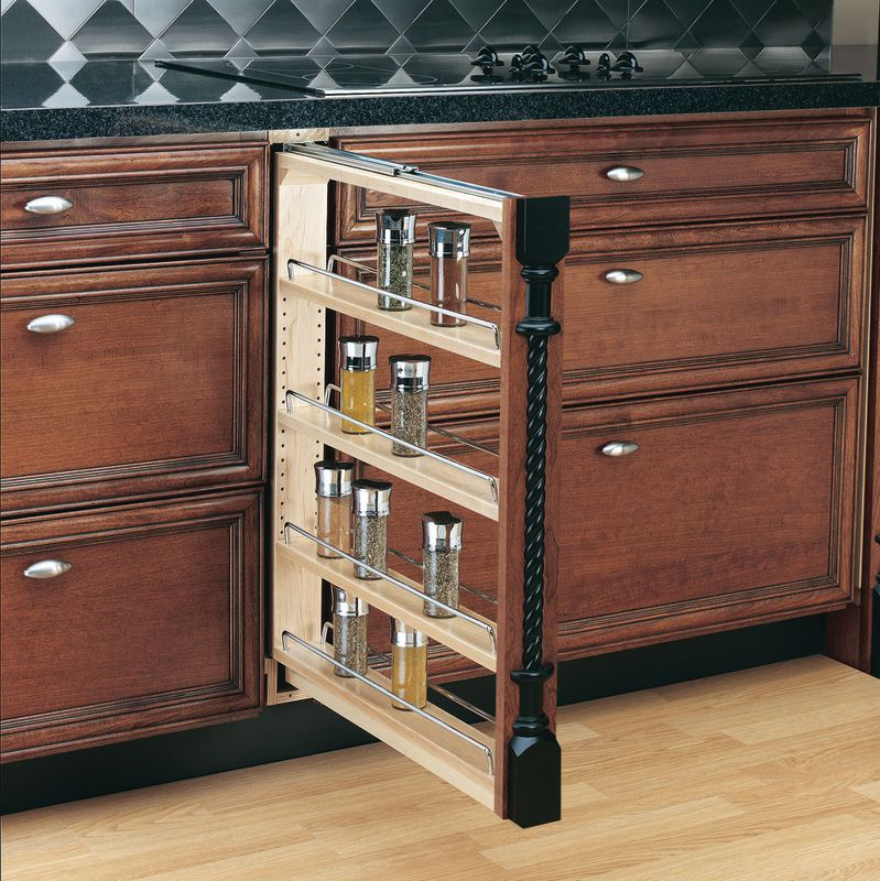 rev a shelf 432 bf 3c natural wood 432 series 3 quot base pull out cabinet cliqstudios com traditional kitchen