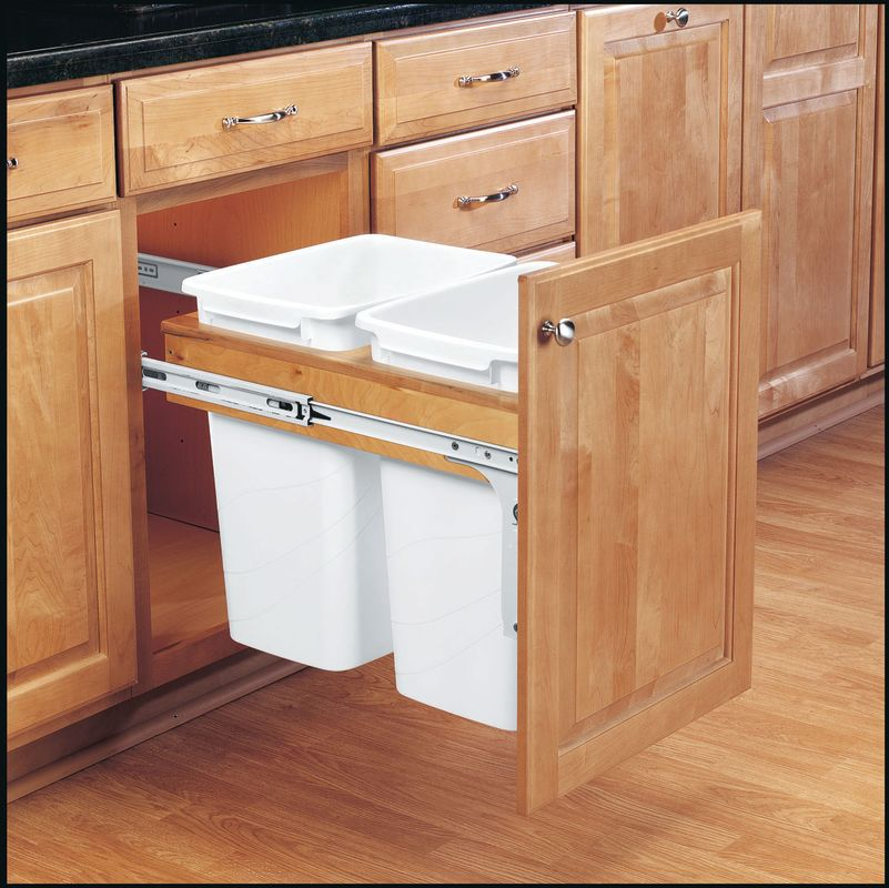 rev a shelf 4wctm 18dm2 white 4wctm series double 35 quart top mount wood pull out waste. Black Bedroom Furniture Sets. Home Design Ideas