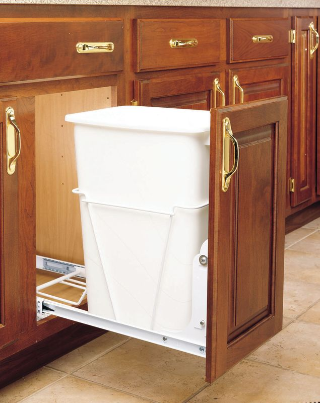 rev a shelf rv 12pb white rv series 35 quart pull out. Black Bedroom Furniture Sets. Home Design Ideas