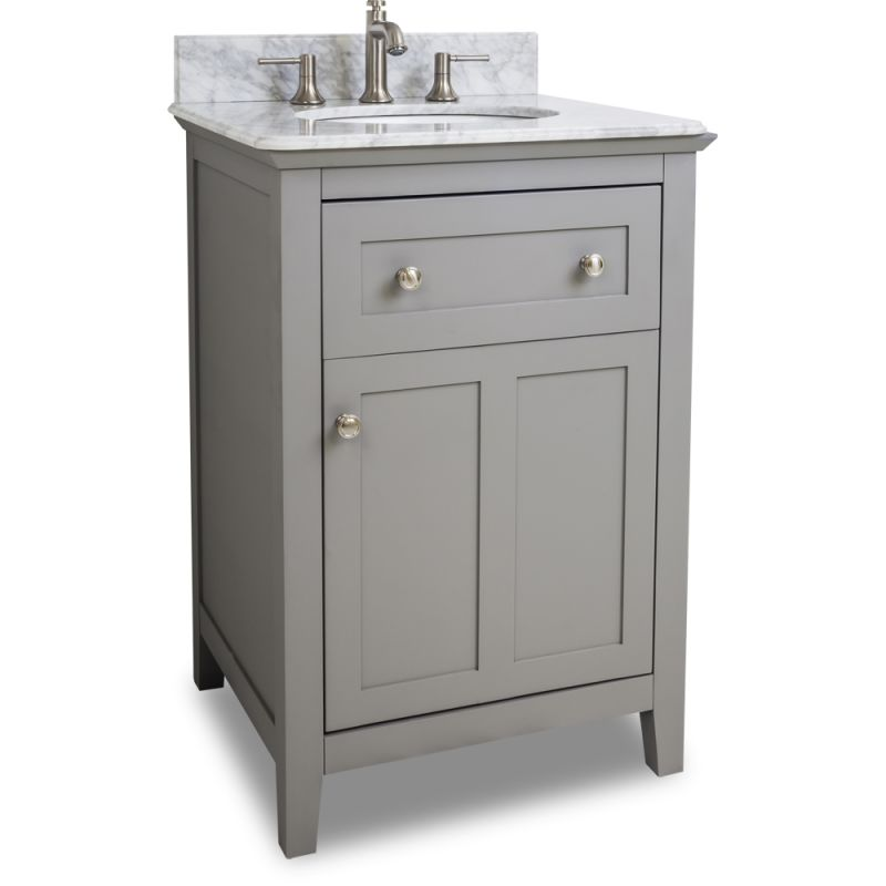 24 inch wide bathroom vanity cabinet with counter top and sink faucet